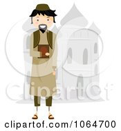Clipart Muslim Man By A Mosque Royalty Free Vector Illustration
