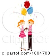 Clipart Birthday Twin Boy And Girl Holding A Cake Royalty Free Vector Illustration by BNP Design Studio