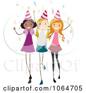 Clipart Three Birthday Party Girls Royalty Free Vector Illustration
