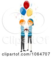 Clipart Twin Boys Birthday Party Royalty Free Vector Illustration