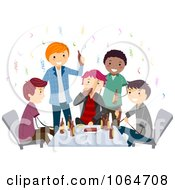 Clipart Bachelor Party Guys Drinking Royalty Free Vector Illustration