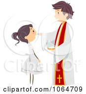 Clipart Priest And Girl At A Communion Royalty Free Vector Illustration