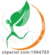Clipart Organic Person And Leaf Royalty Free Vector Illustration