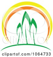 Clipart Three Trees At Sunset Royalty Free Vector Illustration