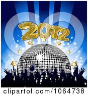Clipart Crowd Silver Disco Ball Stars And 2012 Royalty Free Vector Illustration