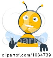 Clipart Cartoon Thumbs Up Bee With A Blank Sign 2 Royalty Free CGI Illustration