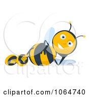 Clipart Cartoon Bee Reclined Royalty Free CGI Illustration