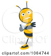Clipart Cartoon Thumbs Up Bee With A Blank Sign 1 Royalty Free CGI Illustration