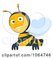 Clipart Cartoon Bee With A Blank Sign 1 Royalty Free CGI Illustration