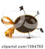 Clipart 3d Cartwheeling Chocolate Egg With A Bow Royalty Free CGI Illustration