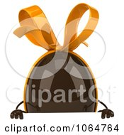 Clipart 3d Chocolate Egg With A Sign 1 Royalty Free CGI Illustration