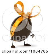 Clipart 3d Pouting Chocolate Egg With A Bow Royalty Free CGI Illustration