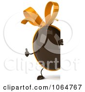 Clipart 3d Thumbs Up Chocolate Egg With A Sign Royalty Free CGI Illustration