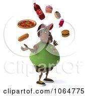 Clipart 3d Chubby Black Burger Man Juggling Foods 2 Royalty Free CGI Illustration