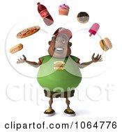 Clipart 3d Chubby Black Burger Man Juggling Foods 1 Royalty Free CGI Illustration