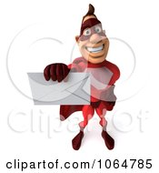 Clipart 3d Red Super Hero Guy With A Letter 3 Royalty Free CGI Illustration