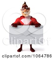 Clipart 3d Red Super Hero Guy With A Letter 1 Royalty Free CGI Illustration