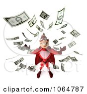 Clipart 3d Red Super Hero Guy Surrounded By Cash Royalty Free CGI Illustration
