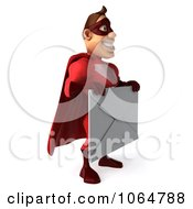 Clipart 3d Red Super Hero Guy With A Letter 2 Royalty Free CGI Illustration