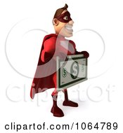 Clipart 3d Red Super Hero Guy Holding Cash Royalty Free CGI Illustration