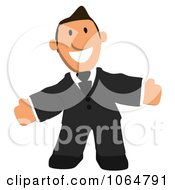 Clipart Business Toon Guy Welcoming 2 Royalty Free CGI Illustration