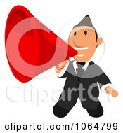 Clipart Business Toon Guy Announcing 1 Royalty Free CGI Illustration