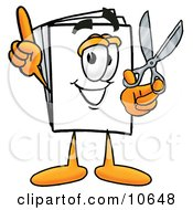 Clipart Picture Of A Paper Mascot Cartoon Character Holding A Pair Of Scissors