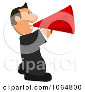 Clipart Business Toon Guy Announcing 2 Royalty Free CGI Illustration