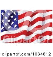 Clipart Waving American Flag Royalty Free Vector Illustration