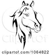 Clipart Horse Head Logo In Black And White 2 Royalty Free Vector Illustration