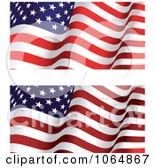 Clipart Waving American Flags Royalty Free Vector Illustration