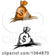 Clipart Dollar Symbol Money Bags 2 Royalty Free Vector Illustration by Vector Tradition SM
