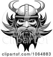 Grayscale Tough Viking Royalty Free Vector Illustration