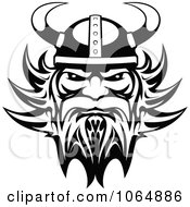 Clipart Black And White Tough Viking Royalty Free Vector Illustration