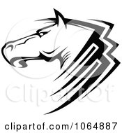 Clipart Horse Head Logo In Black And White 6 Royalty Free Vector Illustration