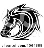 Clipart Horse Head Logo In Black And White 8 Royalty Free Vector Illustration