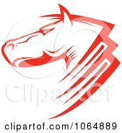 Clipart Strong Red Horse Head 1 Royalty Free Vector Illustration