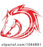 Clipart Strong Red Horse Head 2 Royalty Free Vector Illustration