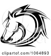 Clipart Horse Head Logo In Black And White 7 Royalty Free Vector Illustration