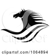 Clipart Horse Head Logo In Black And White 4 Royalty Free Vector Illustration