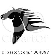 Clipart Horse Head Logo In Black And White 5 Royalty Free Vector Illustration