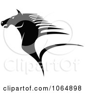 Clipart Horse Head Logo In Black And White 3 Royalty Free Vector Illustration