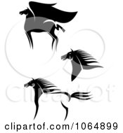 Clipart Horses Collage 4 Royalty Free Vector Illustration