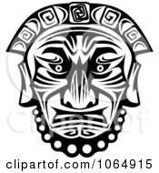 Clipart Tribal Mask Black And White 10 Royalty Free Vector Illustration