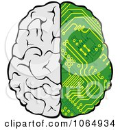 Clipart Half Circuitry Brain Royalty Free Vector Illustration
