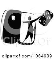 Clipart Tourist Getting Off A Plane 1 Royalty Free Vector Illustration