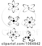 Clipart Black And White Atoms 3 Royalty Free Vector Illustration