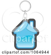 Clipart Blue House Key Ring Royalty Free Vector Illustration