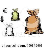 Clipart Money Bags And Currency Symbols Royalty Free Vector Illustration by Vector Tradition SM