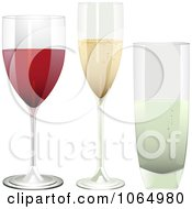 Clipart 3d Red Wine Champagne And Water Glasses Royalty Free Vector Illustration